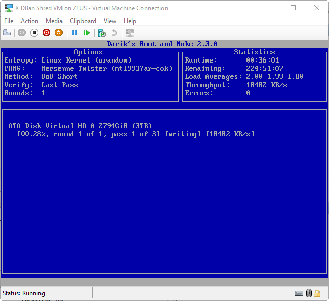 Securely erase physical drives with dban and Hyper-V | Bob