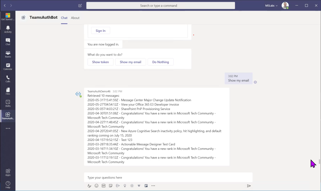 Calling Microsoft Graph from your Teams application – Part 4: Bots