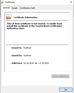 Default certificate from localhost